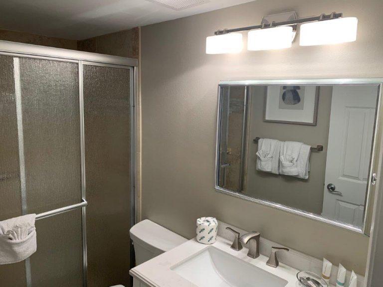 201 Bathroom sink, mirror, shower door 2