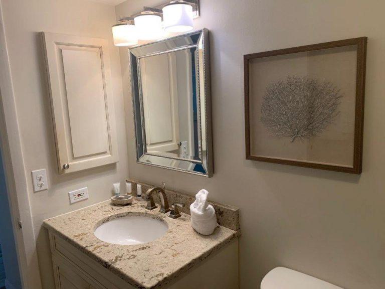 503 Bathroom sink, art, medicine cab, mirror